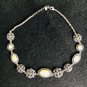 "faux Marcasite stone necklace 8"" long"